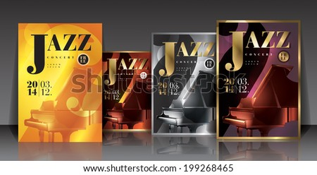 Vector graphic illustration jazz concert posters with piano in different colors - stock vector