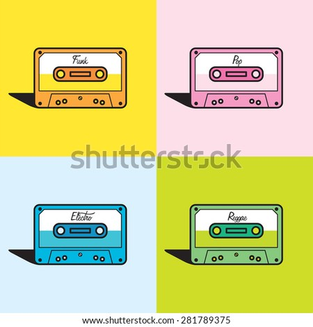 Vector graphic illustration of a set of cassette tapes in vibrant colors
