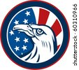 vector graphic illustration of an American eagle with stars and stripes flag set inside a circle on white background - stock vector