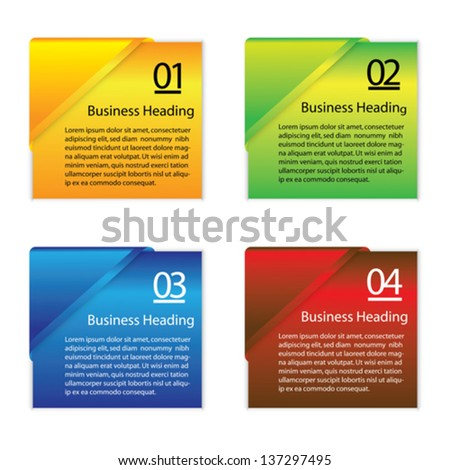 Vector graphic illustration of colorful blank or empty paper info cards(slips) for displaying messages and other information