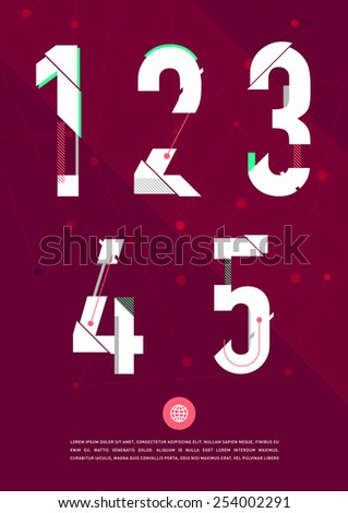 Vector graphic numbers in a set. Contains vibrant colors and minimal design on a velvet abstract background. - stock vector