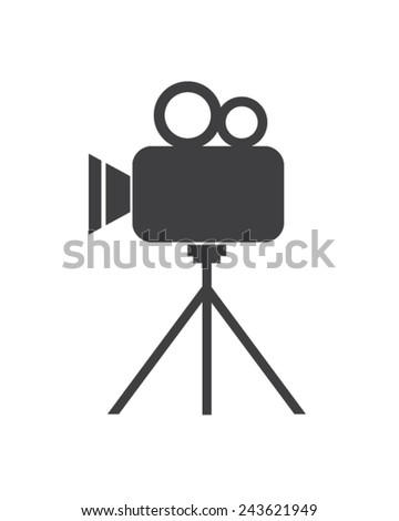 Vector graphic of a retro movie camera - stock vector
