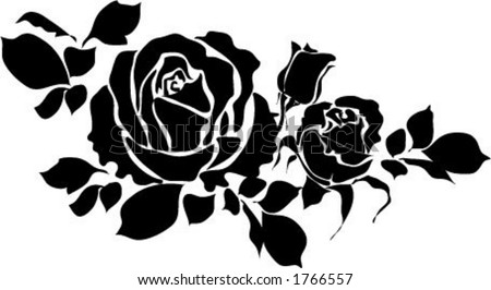 Vector graphic of Rose with leaves - resize as needed
