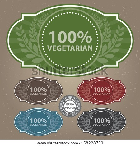 Vector : Graphic or Marketing Material For Food, Restaurant or Cooking Business Present By Colorful Vintage Style 100 Percent Vegetarian Label or Sign in Brown Background - stock vector