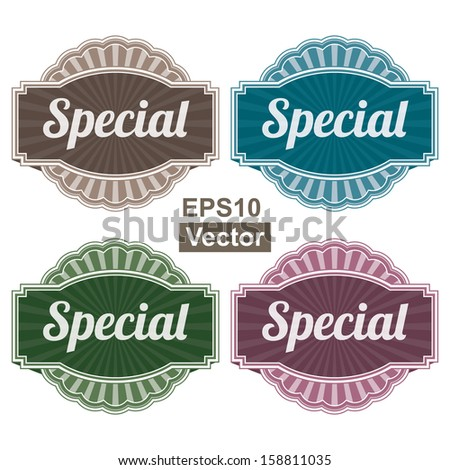 Vector : Graphic or Marketing Materials For Marketing Campaign, Promotion or Sale Event Present By Colorful Vintage Style Special Icon or Badge Isolated on White Background  - stock vector
