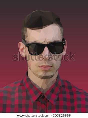 Vector graphic polygon face of cool teen in sunglasses. Stylized man head. Low poly illustration. Polygonal model. - stock vector