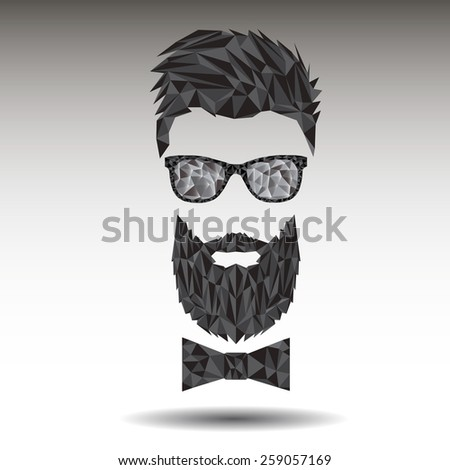 Vector graphic polygon face of hipster in sunglasses with beard and bow-tie