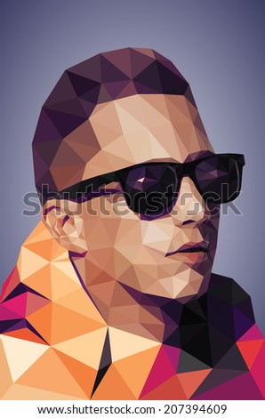 Vector graphic polygon tracing of young man in colorful jacket and sunglasses - stock vector