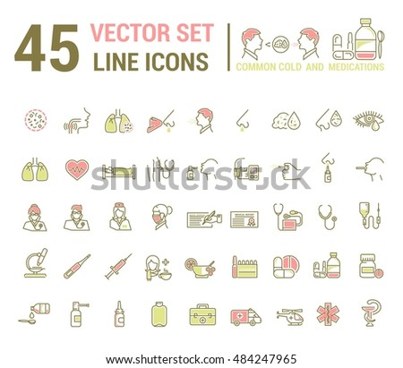 Vector graphic set in linear design. symbol and element. common cold. Symptoms. Medicaments tablets, antibiotics, treatment and prevention of disease. Doctor, nurse, stethoscope, blood pressure cuff.