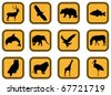 Vector graphic set of animal icons. - stock vector