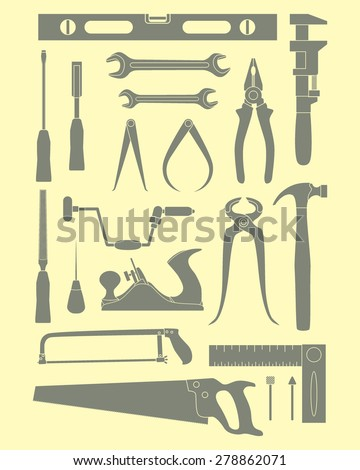 Vector graphic set of common hand tools used by carpenters. Flat style. Beautiful design elements, perfect for icons and labels. For any industry related to the woodworking. - stock vector