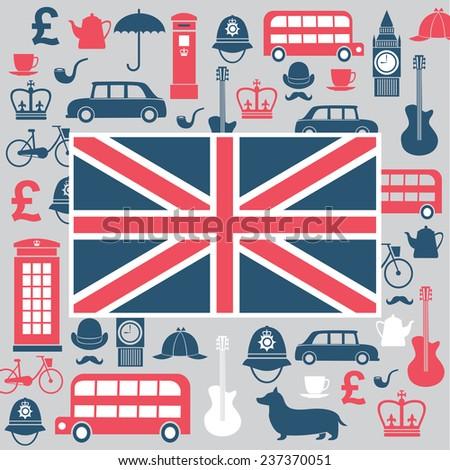 Vector graphic set of great britain symbols - stock vector
