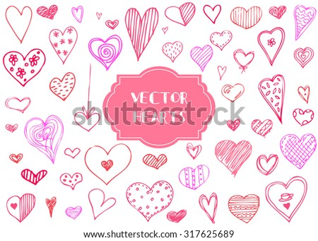 Vector graphic  set of hand drawn pink hearts on a white background. isolated