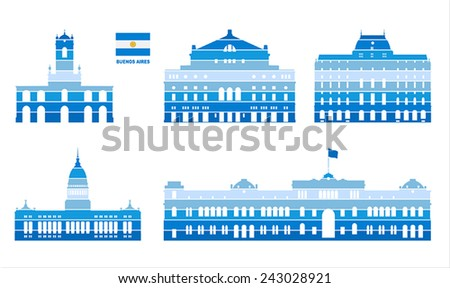 Vector graphic symbols of Buenos Aires.  - stock vector