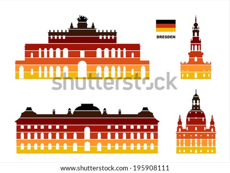 Vector graphic symbols of Dresden - stock vector