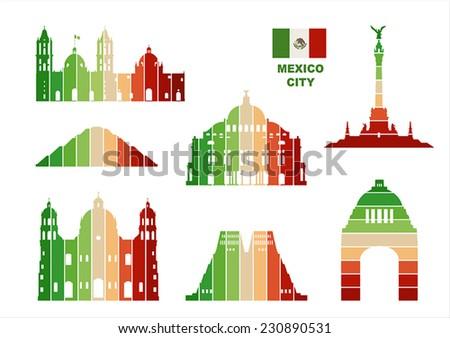 Vector graphic symbols of Mexico City.  - stock vector