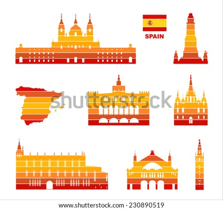 Vector graphic symbols of Spain.  - stock vector