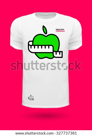 Vector graphic T-shirt design with an apple and measuring tape - stock vector
