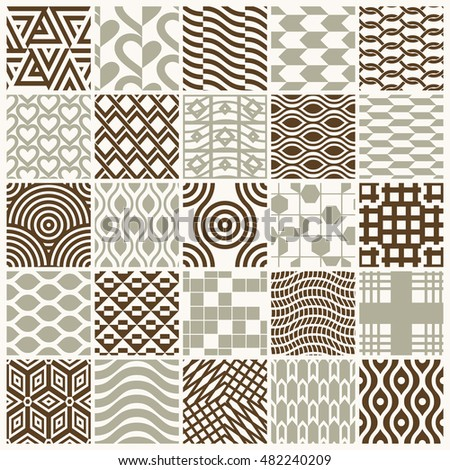 Vector graphic vintage textures created with squares, rhombuses and other geometric shapes. Seamless patterns collection best for use in textiles design.