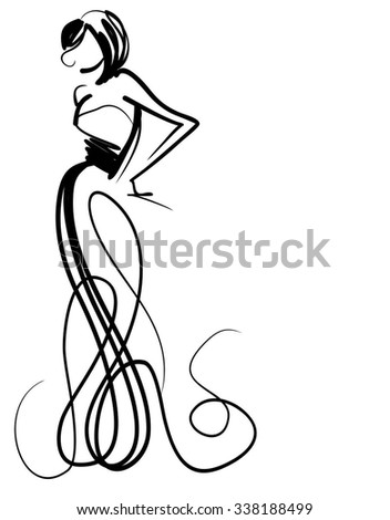 VECTOR    graphic with beautiful young   girl model for design. Fashion, style, youth,   beauty,  . Graphic, sketch drawing. Sexy woman.  groom, bride,   clothes,  dress.  - stock vector