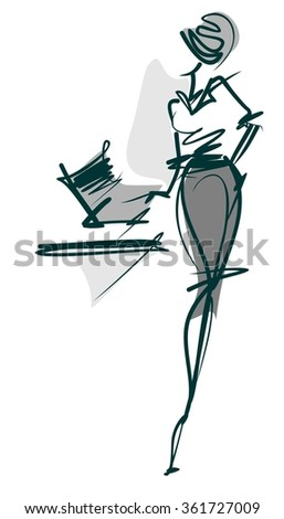 VECTOR  Graphic with beautiful young girl model for design. Fashion, style, youth, beauty. Graphic, sketch drawing. Sexy woman.  business, office, secretary, manager, work,
