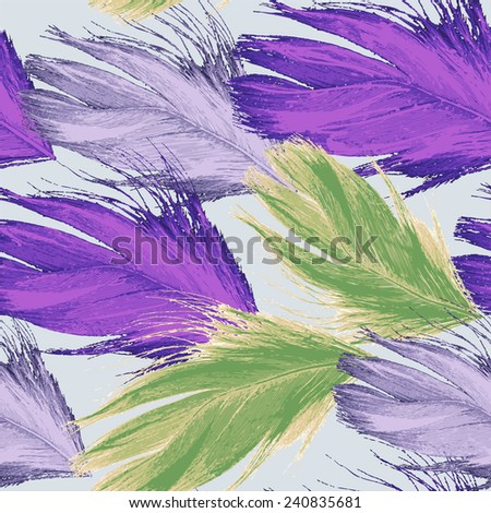 Vector graphics, artistic, stylized seamless pattern  background watercolor with feathers. EPS 8. - stock vector