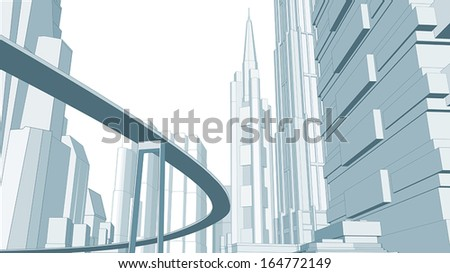Vector graphics of the city.  - stock vector
