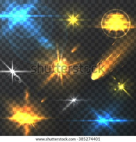 Vector graphics, space elements, lighting effects, galactic light, set of vector space, lighting effects, illustrations element.  - stock vector