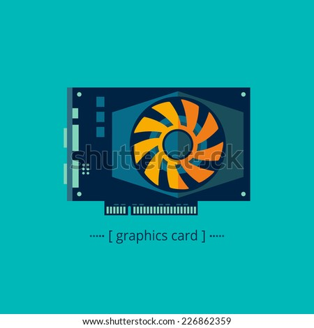 Vector graphics video card in a flat style on a blue background - stock vector