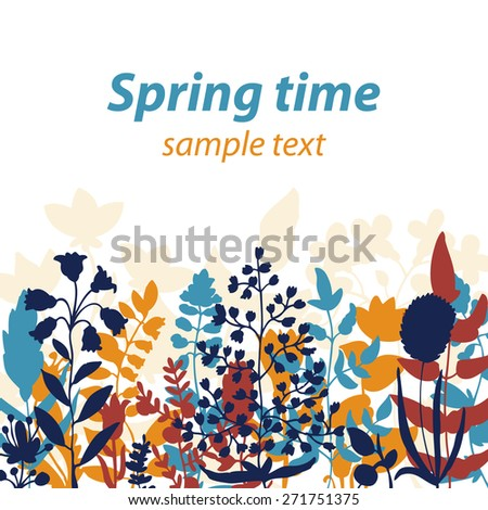 Vector grass and flowers silhouette background - stock vector