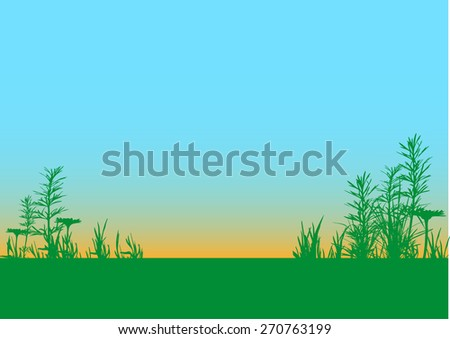 vector grass field silhouette background with place to put your text