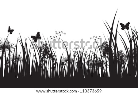 vector grass silhouette background - stock vector