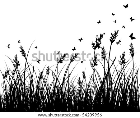 Vector grass silhouettes background. All objects are separated. - stock vector