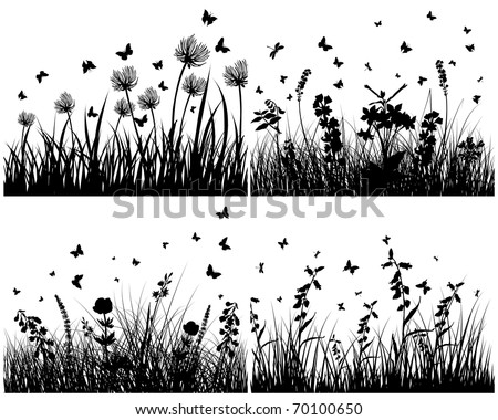 Vector grass silhouettes background set. All objects are separated. - stock vector