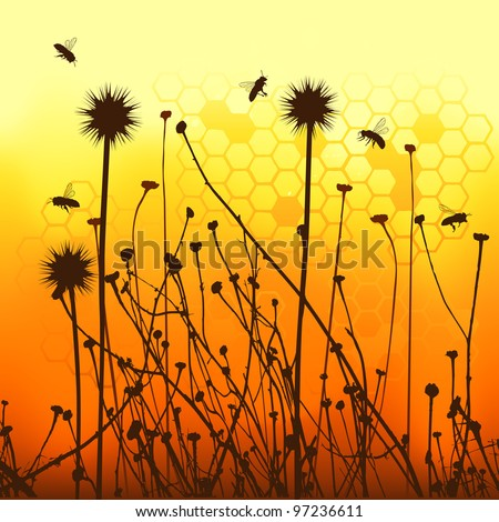 vector grass silhouettes backgrounds and bees - stock vector