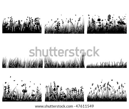 Vector grass silhouettes backgrounds set. All objects are separated. - stock vector