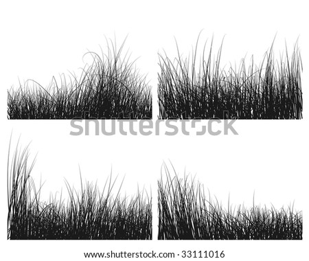 Vector grass silhouettes backgrounds set for design use - stock vector