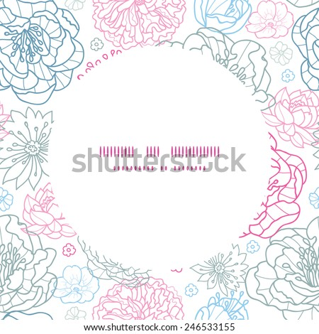 Vector gray and pink lineart florals frame seamless pattern background - stock vector