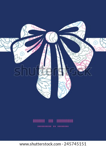Vector gray and pink lineart florals gift bow silhouette pattern frame