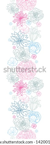 Vector gray and pink lineart florals vertical seamless pattern with hand drawn flowers on light background - stock vector