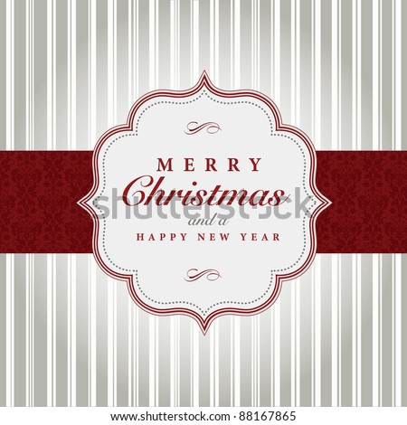 Vector Gray and Red Christmas Label. Easy to edit. Perfect for labels, invitations or announcements. - stock vector
