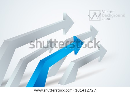Vector gray and red 3d arrows