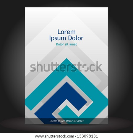 Vector gray brochure cover design with blue elements. EPS 10 - stock vector