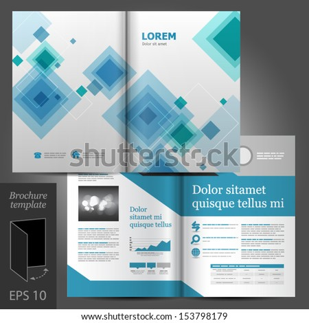 Vector gray brochure template design with blue and green square elements. EPS 10 - stock vector