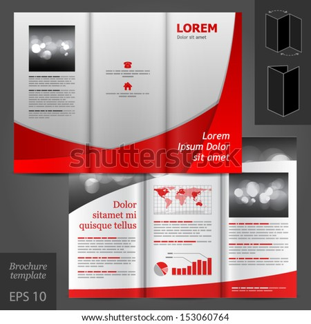 Vector Gray Brochure Template Design Red Stock Vector 153060764 ...