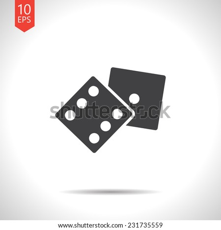 Vector gray dice flat icon  isolated on white. Eps10 - stock vector