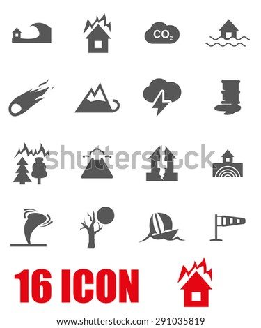 Vector gray disaster icon set. Disaster Icon Object, Disaster Icon Picture, Disaster Icon Image, Disaster Icon Graphic, Disaster Icon JPG, Disaster Icon EPS, Disaster Icon AI - stock vector - stock vector