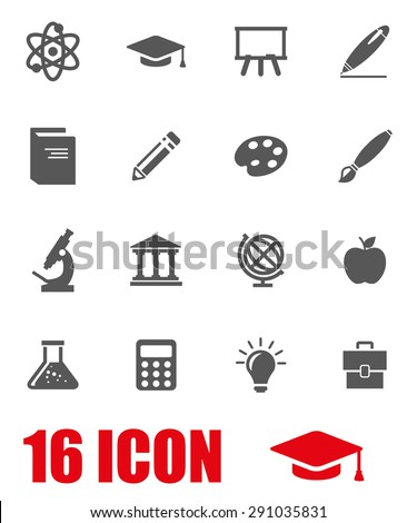 Vector gray education icon set.