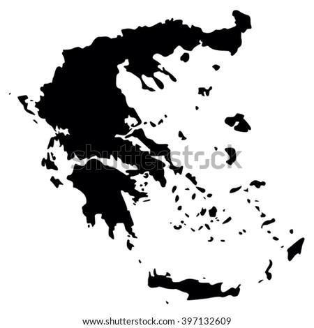 Vector gray map. Greece. - stock vector