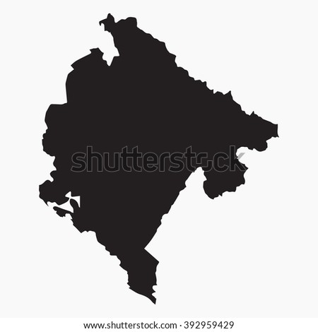 Vector gray map Montenegro. Isolated vector Illustration. Black on Grey background. EPS Illustration. - stock vector